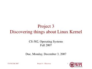 Project 3 Discovering things about Linux Kernel