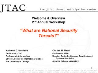 "Welcome & Overview 2 nd  Annual Workshop ""What  are  National Security Threats?"""