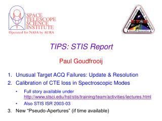 TIPS: STIS Report