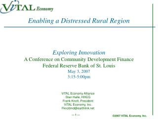 Exploring Innovation A Conference on Community Development Finance