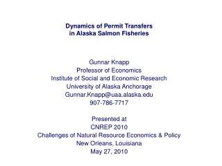 Dynamics of Permit Transfers in Alaska Salmon Fisheries