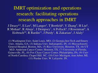 IMRT optimization and operations research: facilitating operations research approaches in IMRT