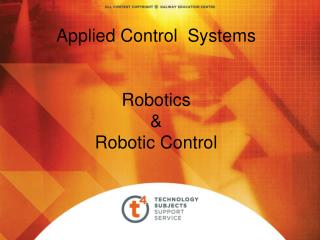 Applied Control  Systems   Robotics  Robotic Control