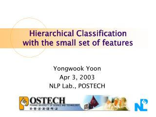 Hierarchical Classification  with the small set of features