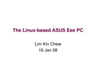The Linux-based ASUS Eee PC