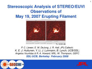 Stereoscopic Analysis of STEREO/EUVI Observations of  May 19, 2007 Erupting Filament