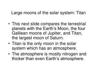 Large moons of the solar system: Titan