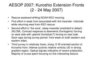 AESOP 2007: Kuroshio Extension Fronts (2 - 24 May 2007)