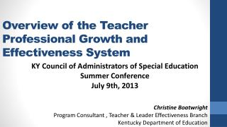 Overview of the Teacher Professional Growth and Effectiveness System