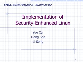 Implementation of  Security-Enhanced Linux