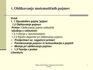 1.  Oblikovanje matematičnih pojmov