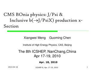 CMS BOnia physics: J /Psi  &      Inclusive b( J/PsiX) production x-Section