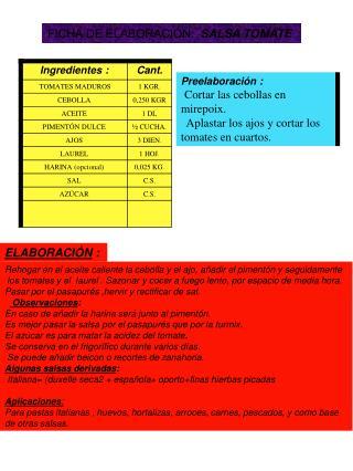 FICHA DE ELABORACIÓN:   SALSA TOMATE