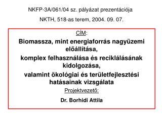 NKFP-3A/061/04 sz. pályázat prezentációja NKTH, 518-as terem, 2004. 09. 07.
