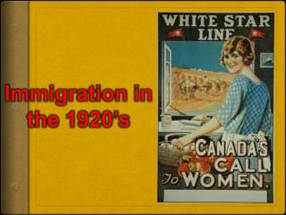 Immigration in the 1920's