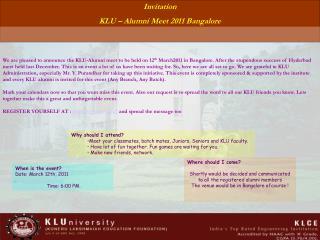 Invitation KLU – Alumni Meet 2011 Bangalore