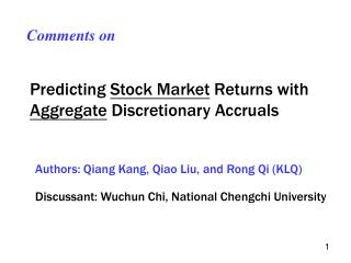 Predicting  Stock Market  Returns with  Aggregate  Discretionary Accruals