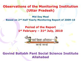 Observations of the Monitoring Institution (Uttar Pradesh)