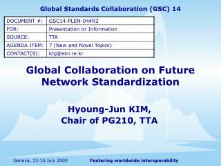 Global Collaboration on Future Network Standardization