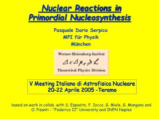 Nuclear Reactions in  Primordial Nucleosynthesis
