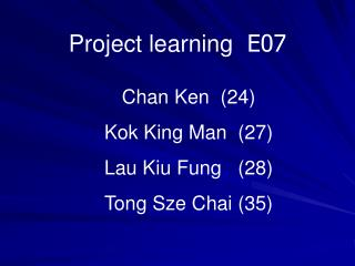 Project learning   E07