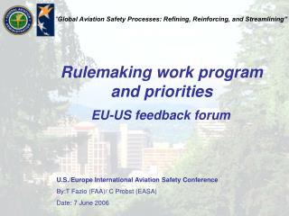 Rulemaking work program and priorities