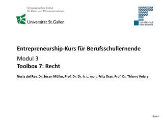Entrepreneurship-Kurs für Berufsschullernende Modul 3 Toolbox 7: Recht