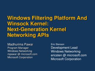 Windows Filtering Platform And Winsock Kernel:  Next-Generation Kernel Networking APIs