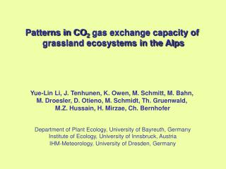 Patterns in CO 2  gas exchange capacity of  grassland ecosystems in the Alps