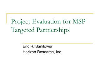 Project Evaluation for MSP Targeted Partnerships