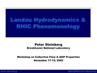 Landau Hydrodynamics & RHIC Phenomenology
