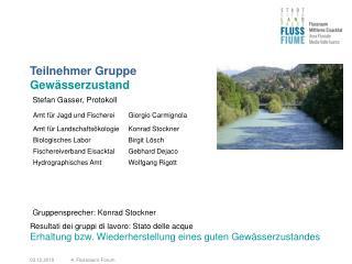 Teilnehmer Gruppe  Gewässerzustand