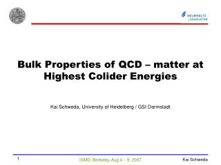 Bulk Properties of QCD – matter at Highest Colider Energies