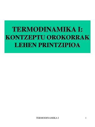 TERMODINAMIKA I: KONTZEPTU OROKORRAK LEHEN PRINTZIPIOA