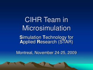 CIHR Team in Microsimulation