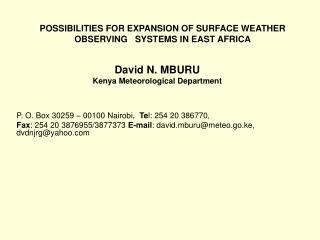 David N. MBURU Kenya Meteorological Department