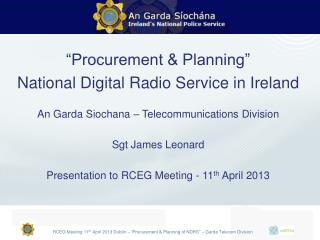 """Procurement & Planning""  National Digital Radio Service in Ireland"