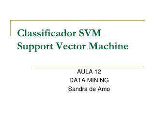 Classificador SVM Support Vector Machine