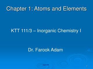 KTT 111/3 – Inorganic Chemistry I