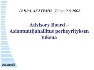 Advisory Board –  Asiantuntijahallitus perheyrityksen tukena