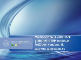 Multinacionális vállalatok globalizált ERP-modelljei, fejlődési tendenciák