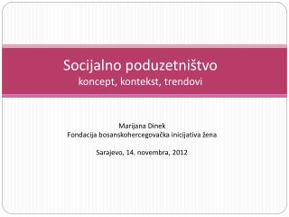 Socijalno poduzetništvo koncept, kontekst, trendovi