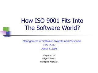How ISO 9001 Fits Into  The Software World