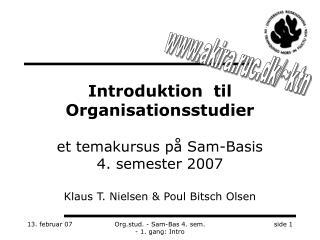 Introduktion  til Organisationsstudier