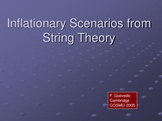 Inflationary Scenarios from String Theory