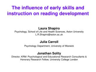 The influence of early skills and instruction on reading development