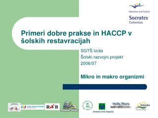 Primeri dobre prakse in HACCP v šolskih restavracijah