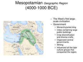 Mesopotamian  Geographic Region (4000-1000 BCE)