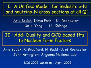I : A Unified Model  for inelasitc e-N    and neutrino-N cross sections at all Q 2