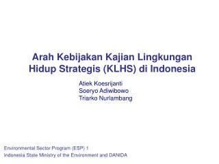 Arah Kebijakan Kajian Lingkungan Hidup Strategis (KLHS) di Indonesia